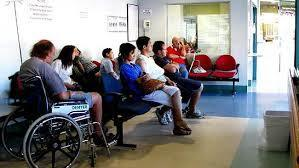 Labour in a hospital waiting room